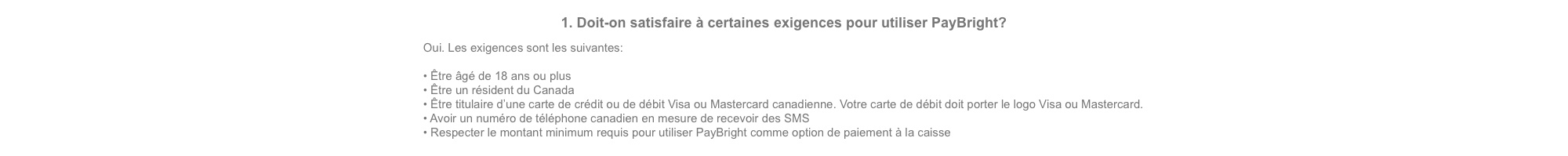 PayBright fréquentes