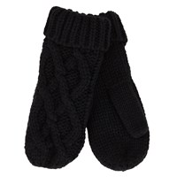 Women's Iris Rib Knit Gloves in Black