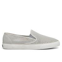 Chaussures à talon plat Seaside Perf Leather en gris pour femmes