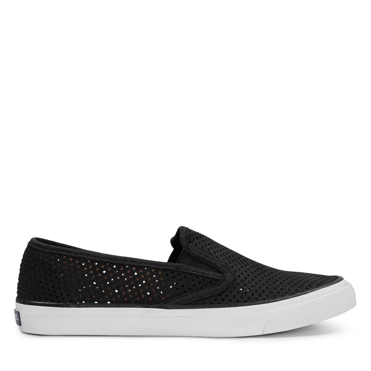 Women's Seaside Leather Slip-On Shoes in Black