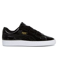 Women's Basket Heart Patent Black Sneaker
