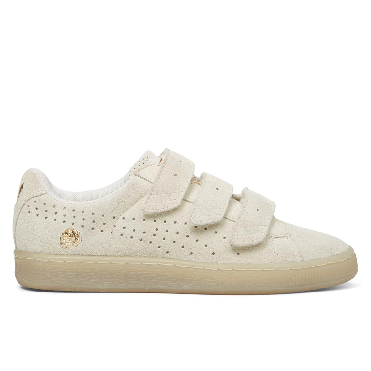 best website 7ff0d 6d628 Women's Suede Velcro Strap Basket Beige Sneaker