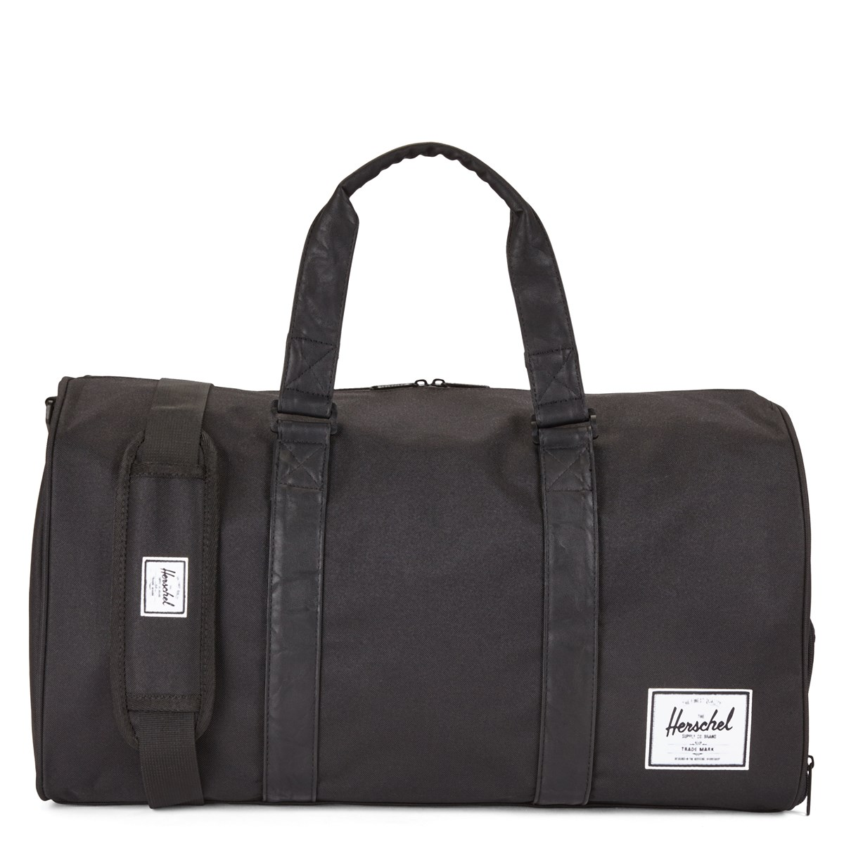Novel Weekender Duffle Bag in Black Patent and Tan