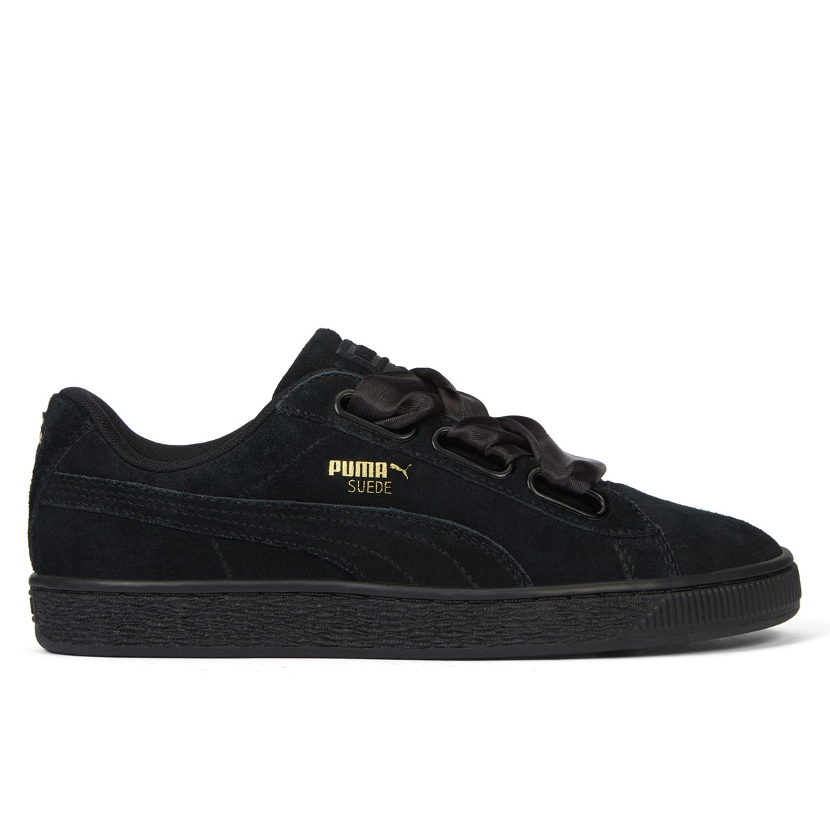 differently a5152 3f461 Women's Suede Heart Satin II Cameo Black Sneaker