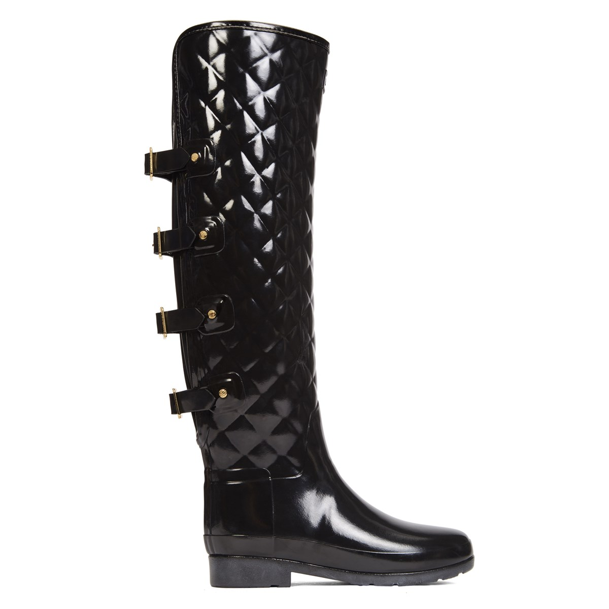 Women's Refined OTK Gloss Quilt Black Boot