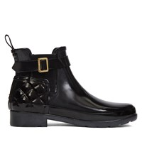 Women's Refined Gloss Quilt Chelsea Boots in Black