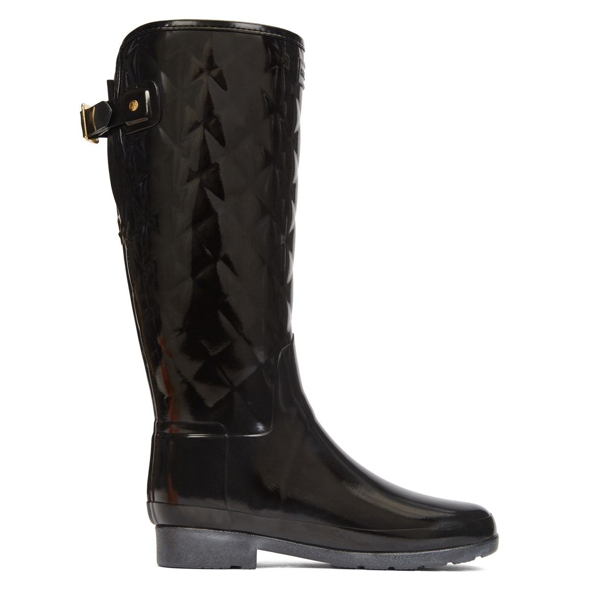 Women's Refined Gloss Quilt Tall Boots in Black