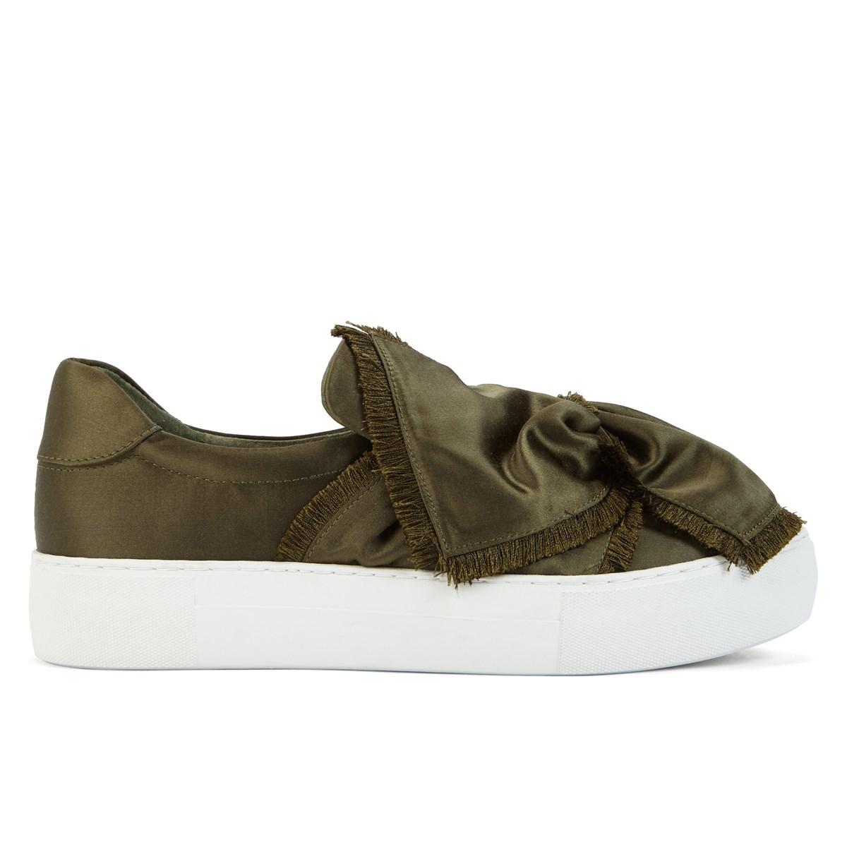 Women's Azurra Khaki Satin Sneaker
