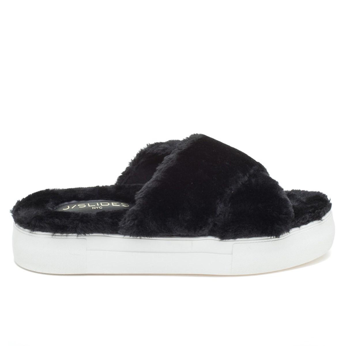 Women's Adorablee Black Faux Fur Slides
