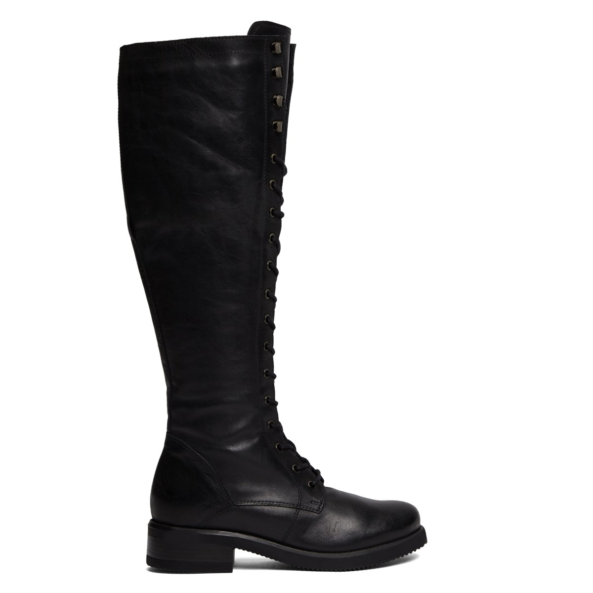 Women's Sienna Black Leather Lace-Up Boot