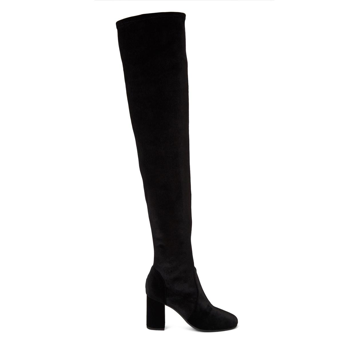 426022a23 Women's Amber Black Velvet Thigh High Boot