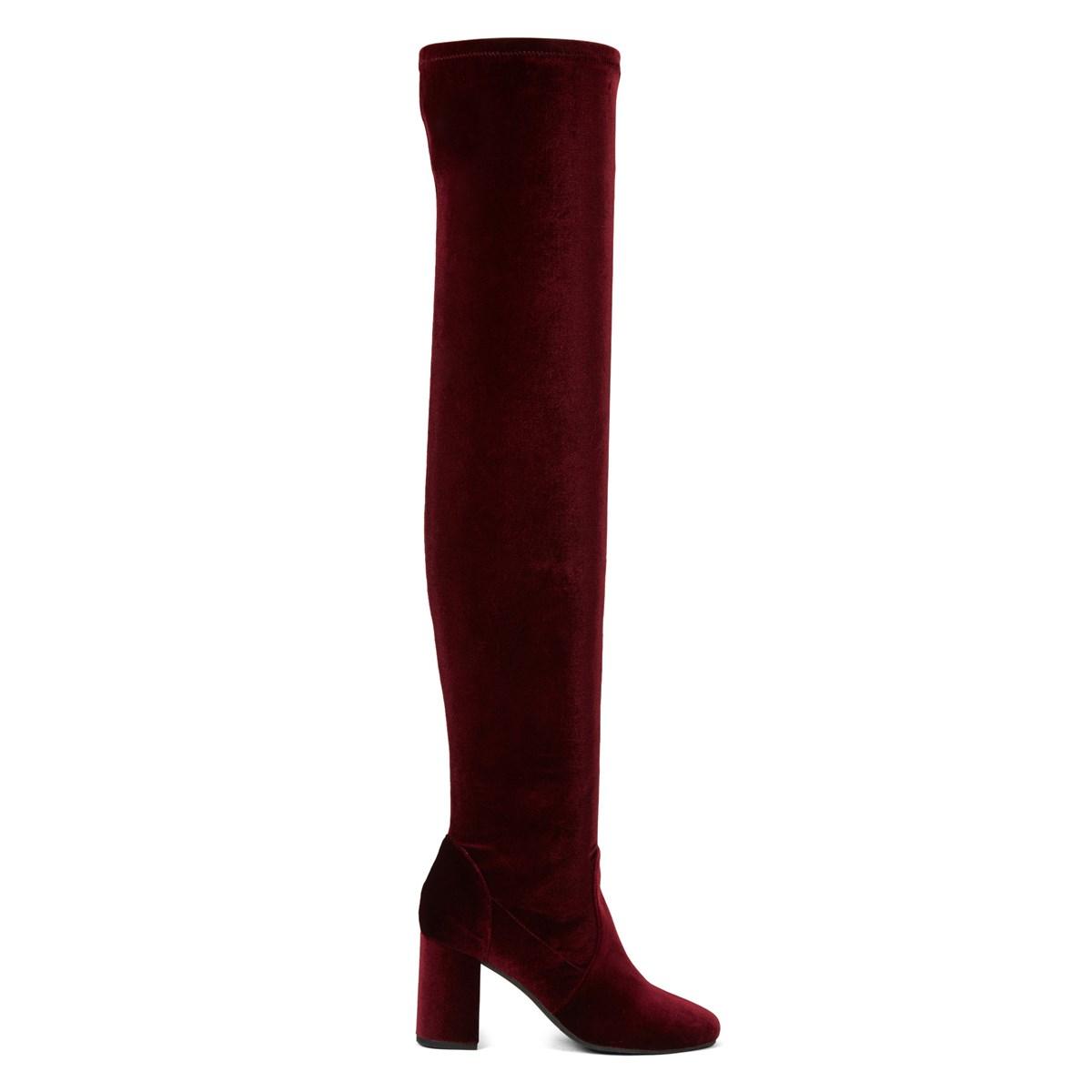 Women's Amber Bordeaux Velvet Thigh High Boot