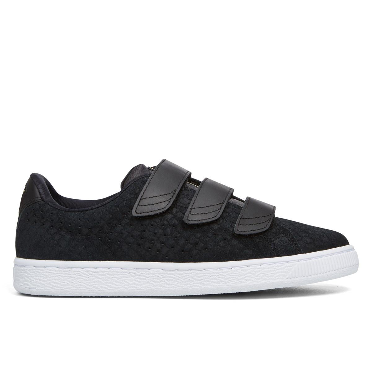 the latest 6ecf0 86391 Women's Suede Velcro Strap Basket Black Sneaker