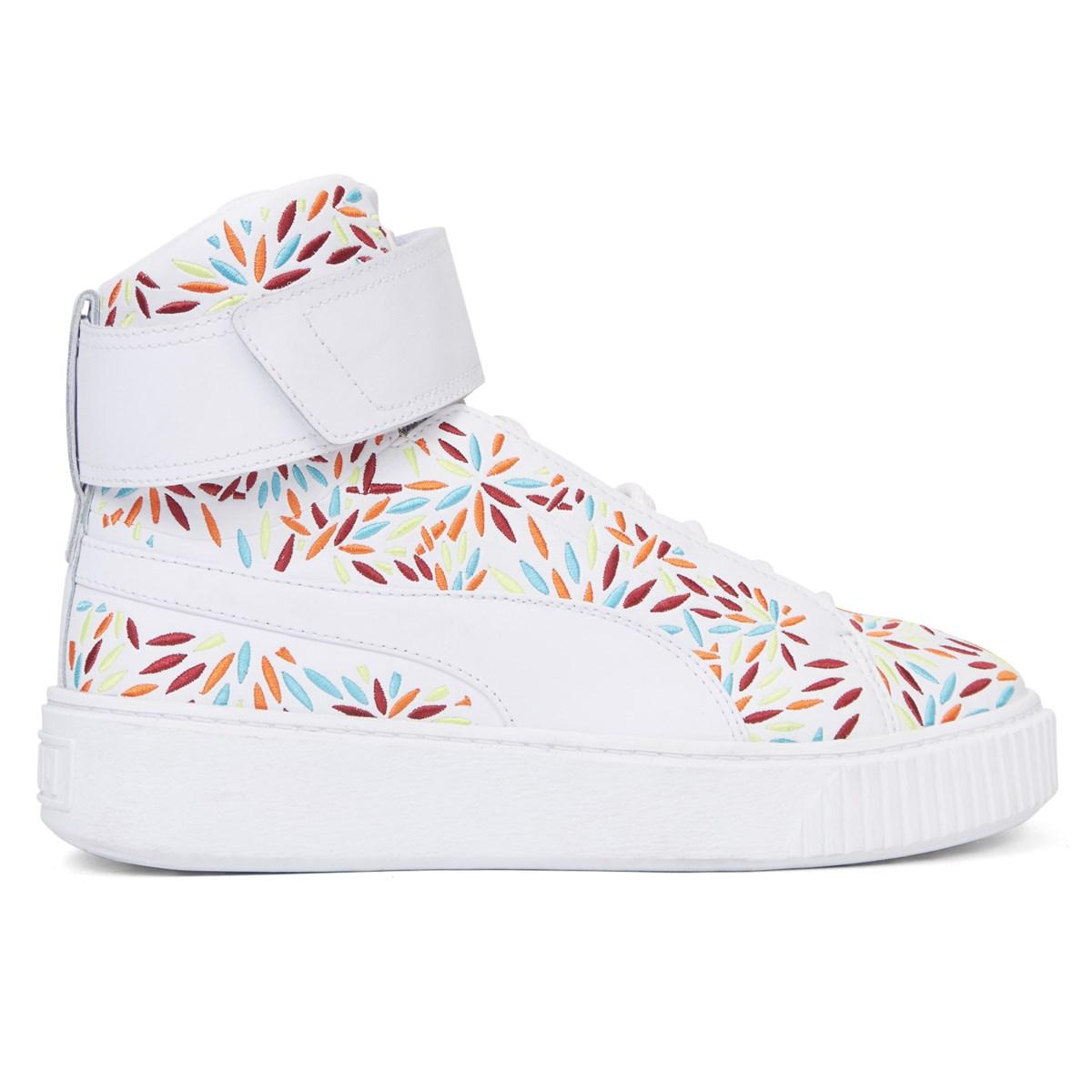 Women's Platform Mid Kiku White Sneaker
