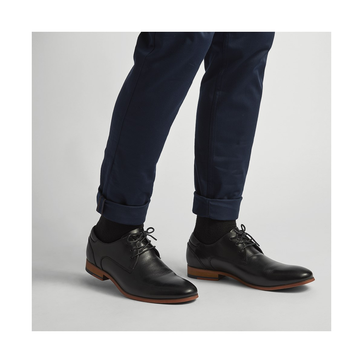 Men's Donto Black Leather Lace-Up Shoe