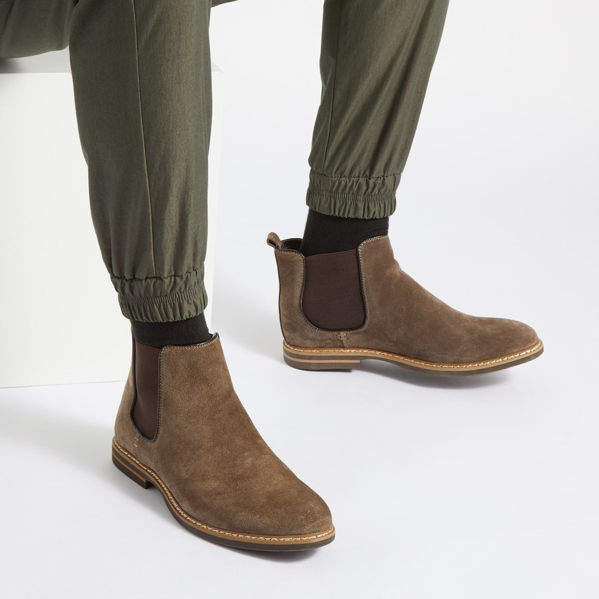 Men's Lucas Cow Suede Boots in Brown