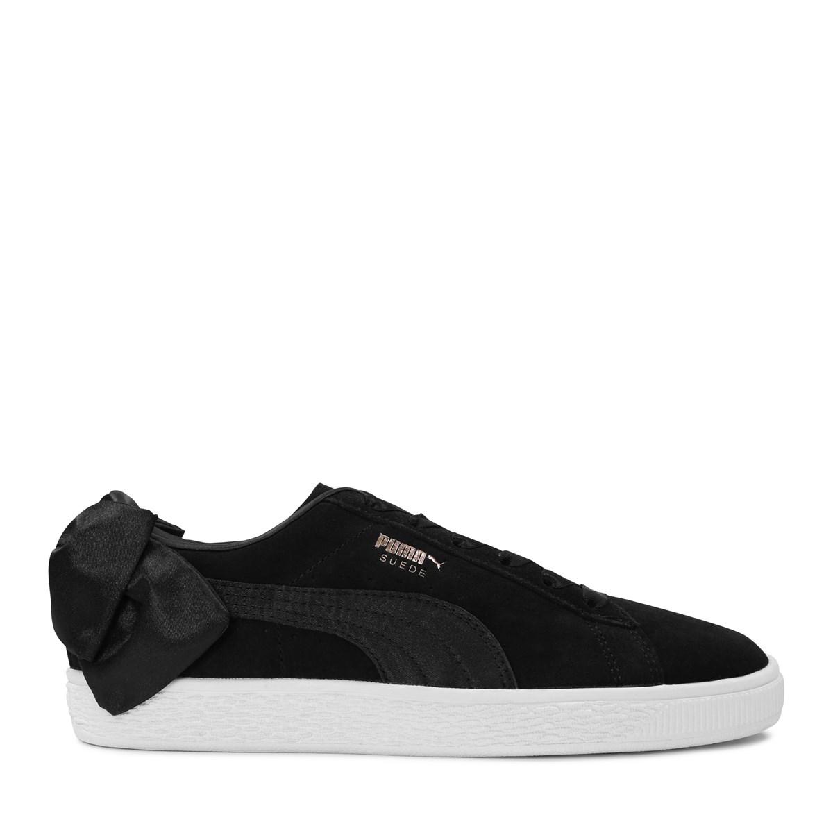 Women's Suede Bow Black Sneaker