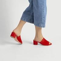 Sandales à talon Lucia en suède rouge pour femmes