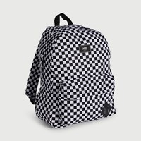 Old Skool II Checkboard Backpack in White & Black