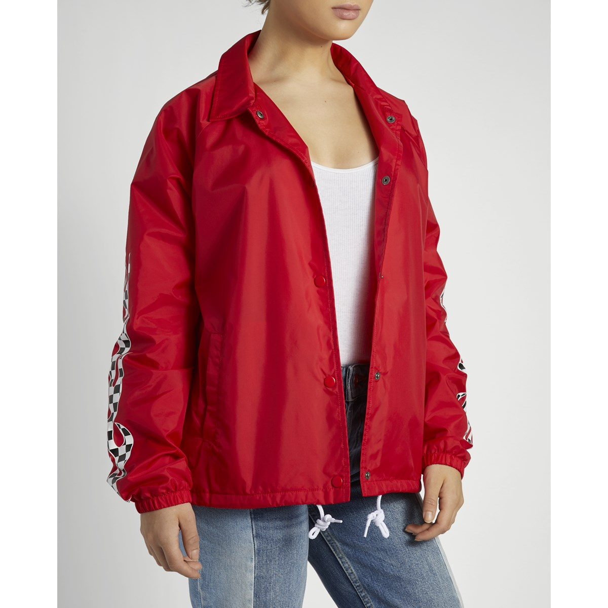 Women S Checker Flame Coach Jacket In Red Little Burgundy