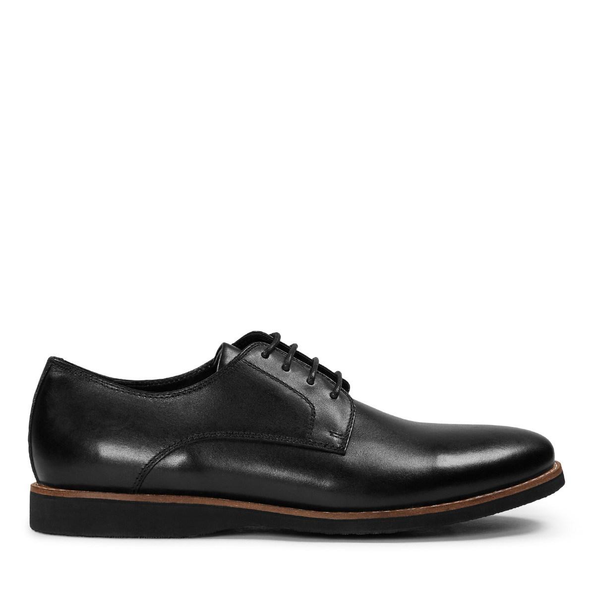Men's Black Leather Lace-Up Shoe