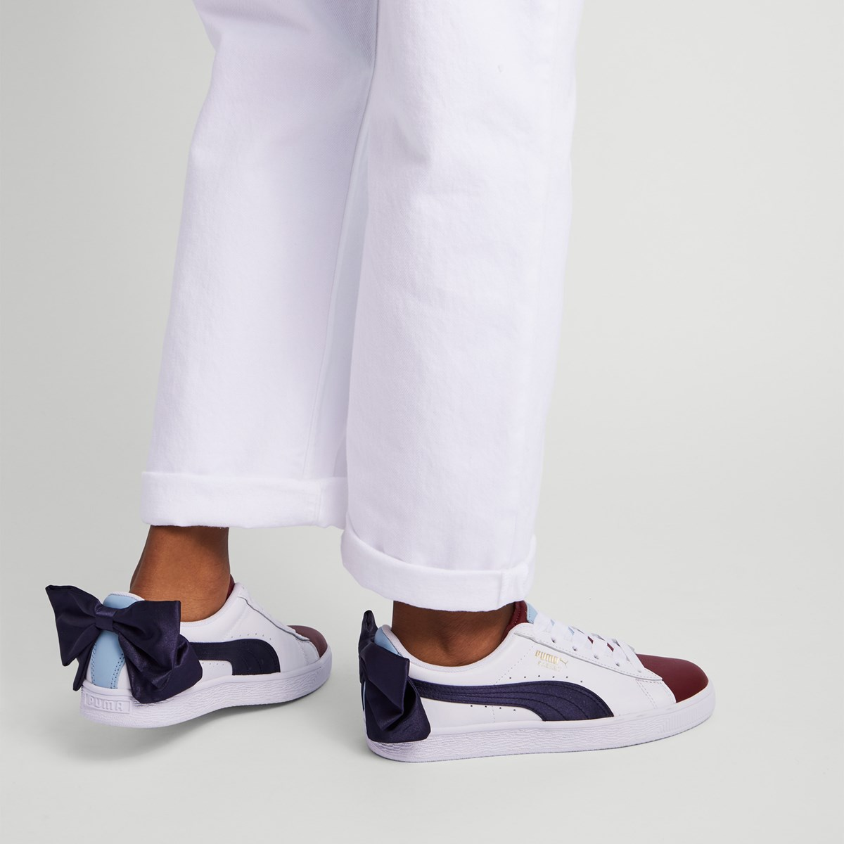 Women's Basket Bow New Skool Sneakers in White