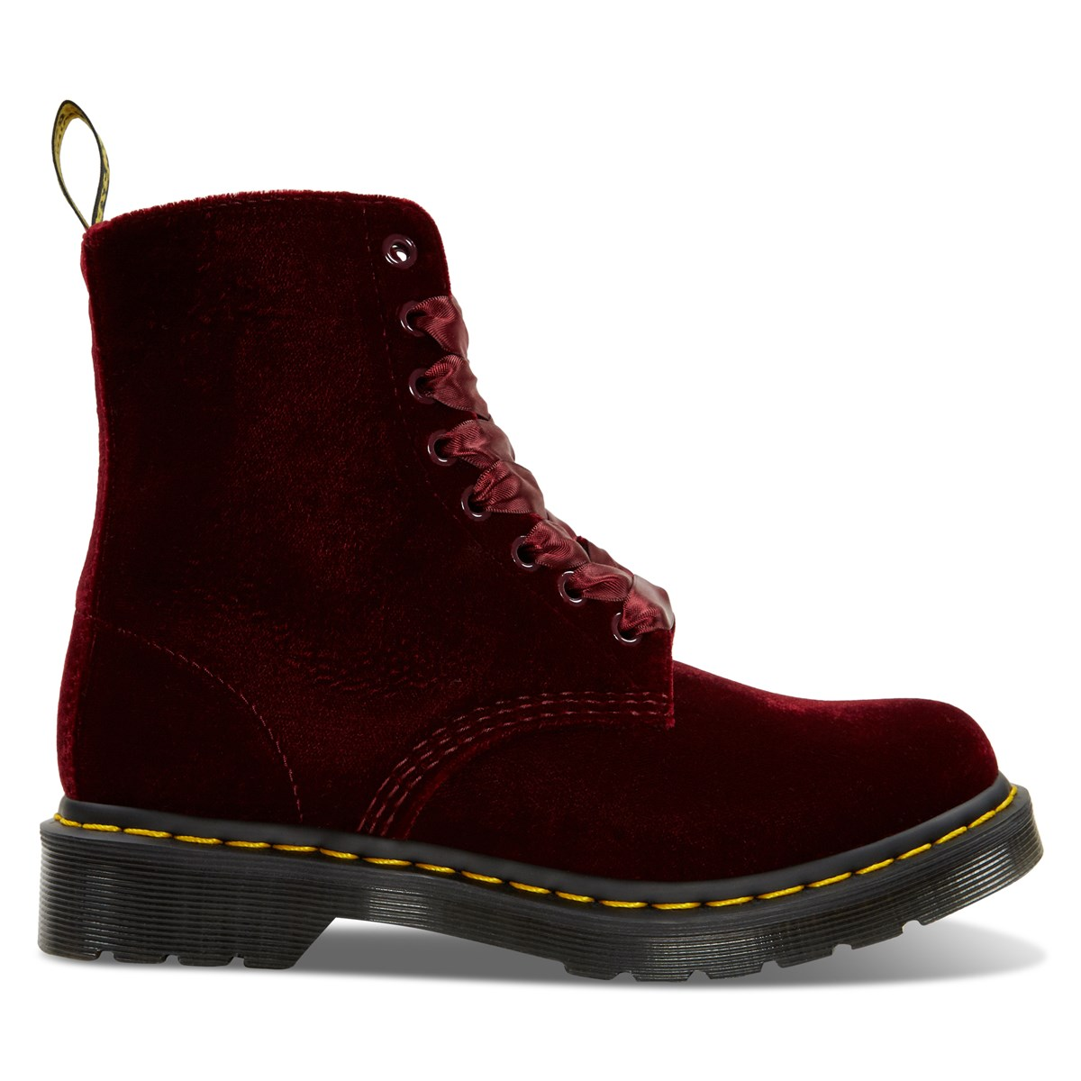 Women's 1460 Pascal Virginia Velvet Boots in Cherry Red
