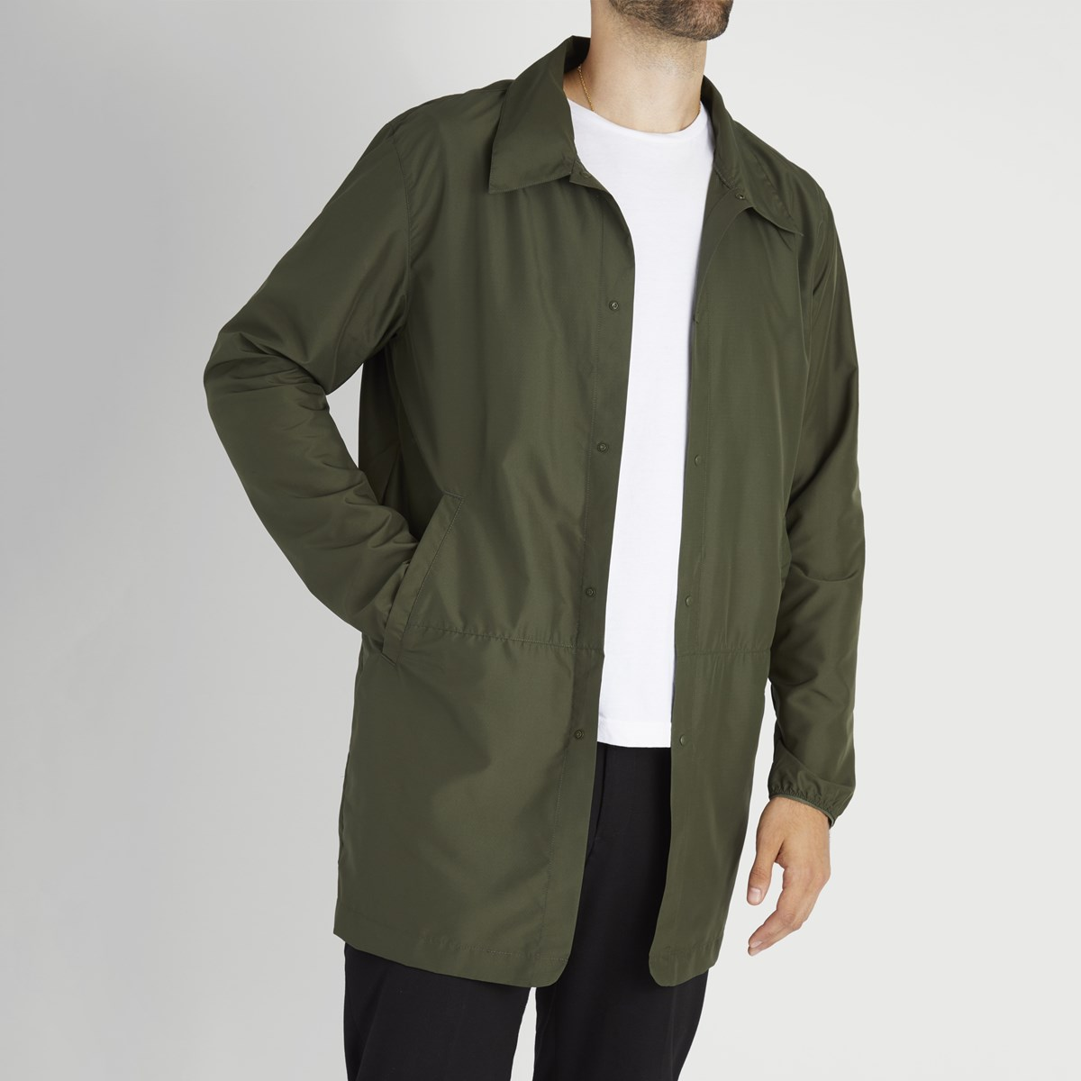 Men's Long Coach Jacket in Dark Olive