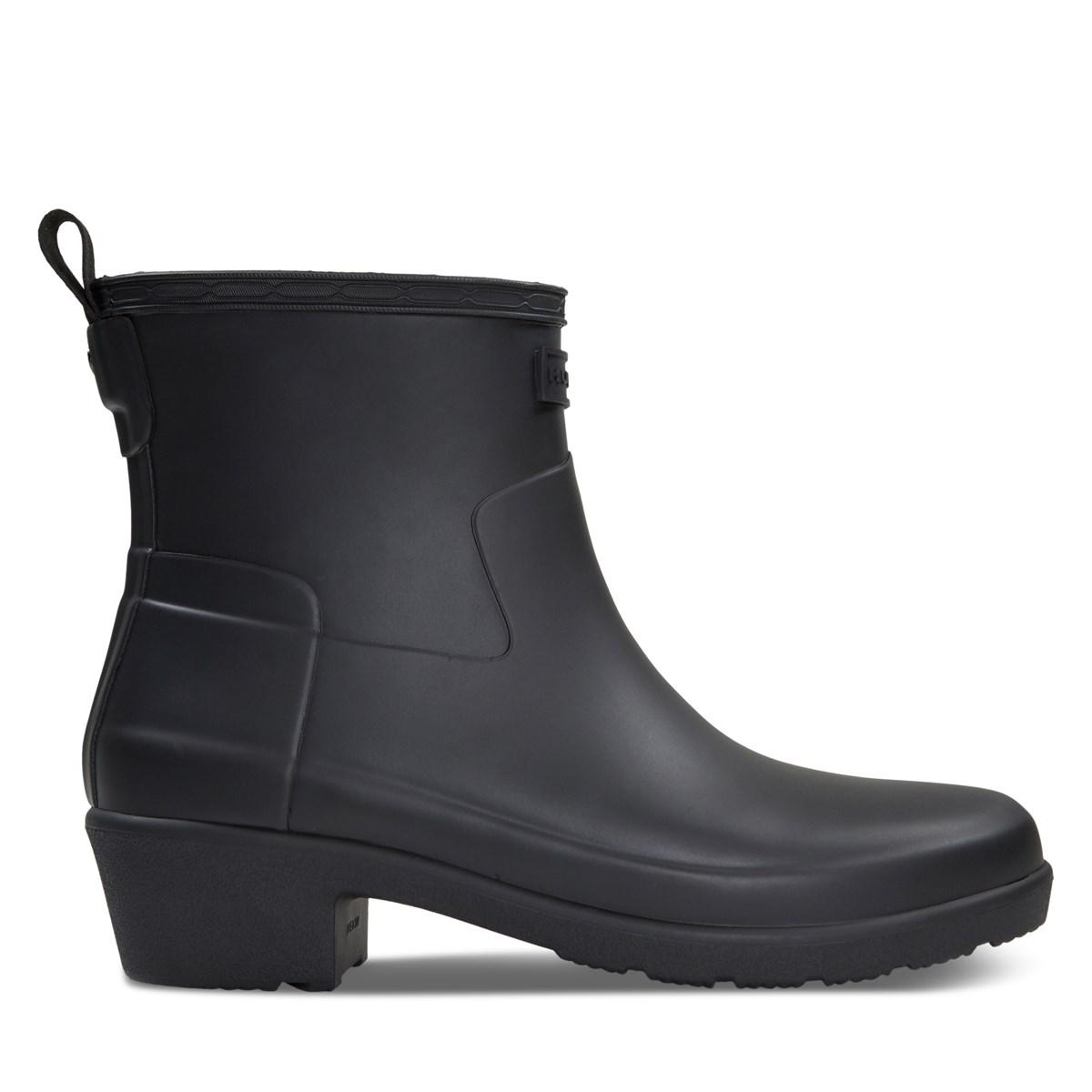 Women's Refined Low Ankle Rain Boots in Black