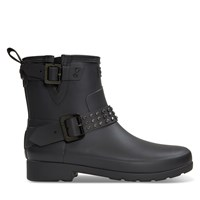 Women's Refined Stud Biker Rain Boots in Black