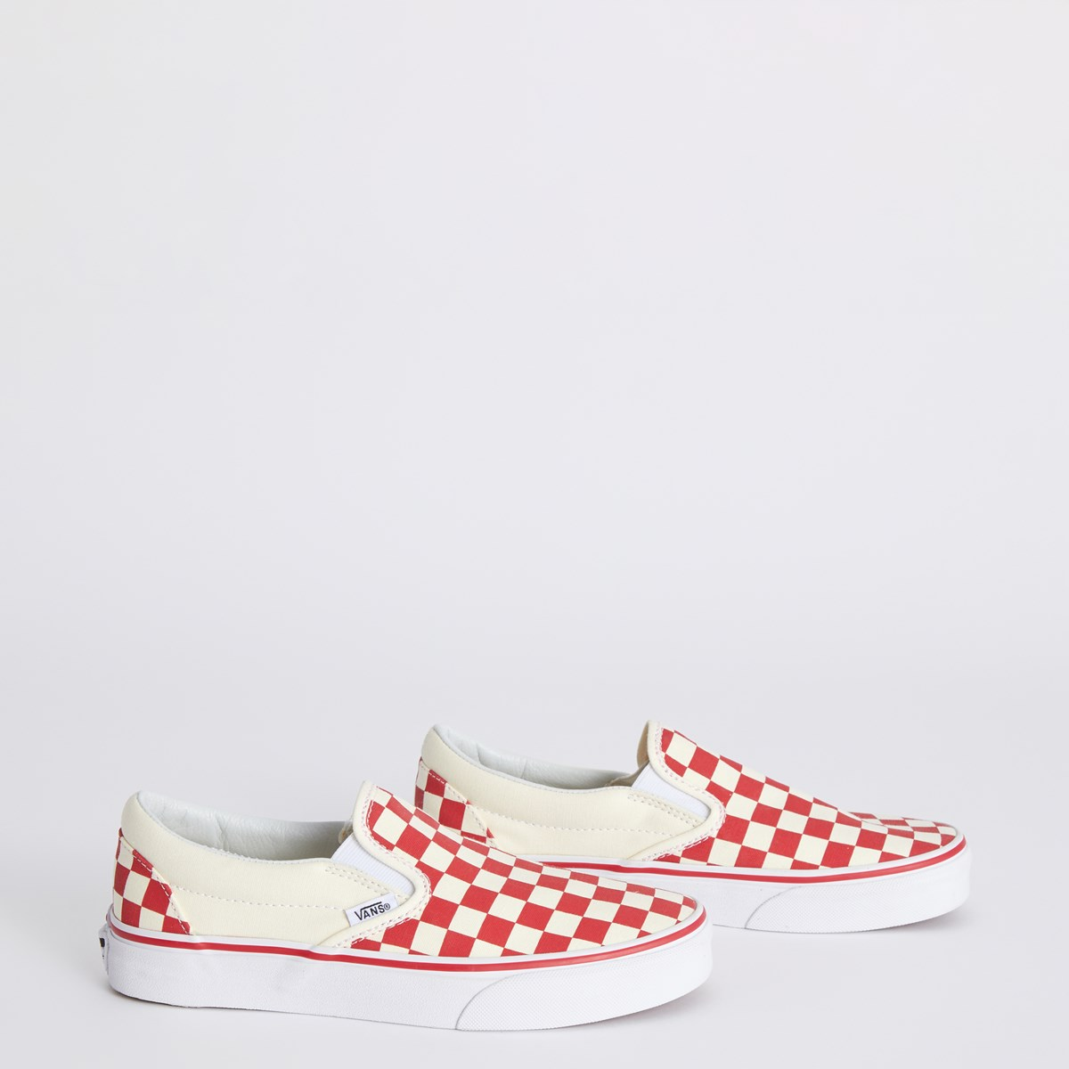 Primary Check Slip Ons in Racing Red