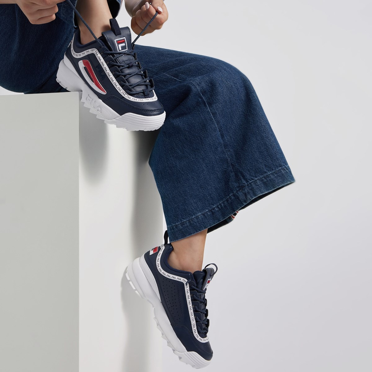 Women's Disruptor II Premium Sneakers in Navy