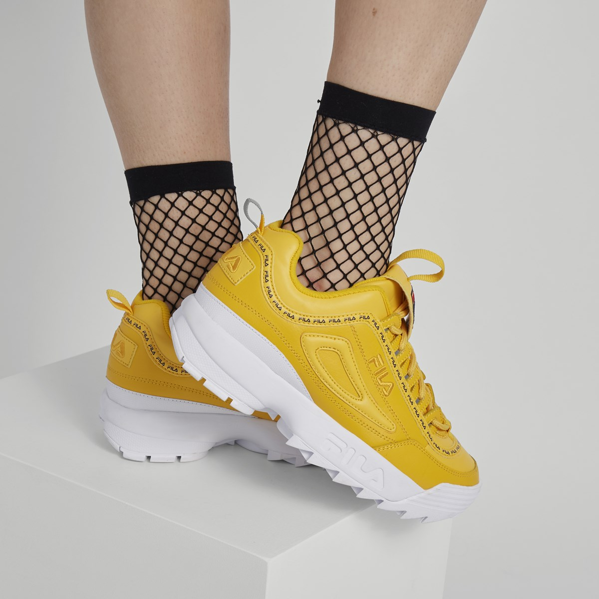 Women's Disruptor II Premium Sneakers in Yellow