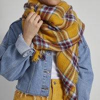 Women's Mustard Plaid Scarf