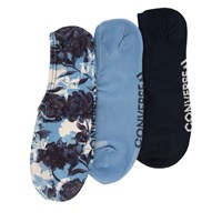 Women's 3 Pair Pack of Linear Floral Print No-Show Socks