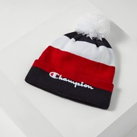Script Knit Pom Beanie in Red