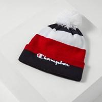 Tuque Script à pompon marine, blanc et rouge