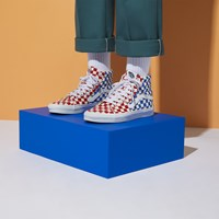 Men's Sk8-Hi Checkerboard Sneaker in Red and Blue