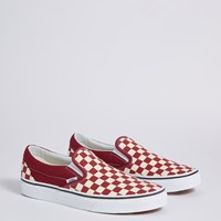 Women's Classic Checkerboard Slip-Ons in Burgundy