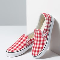Women's Slip-Ons in Gingham Red