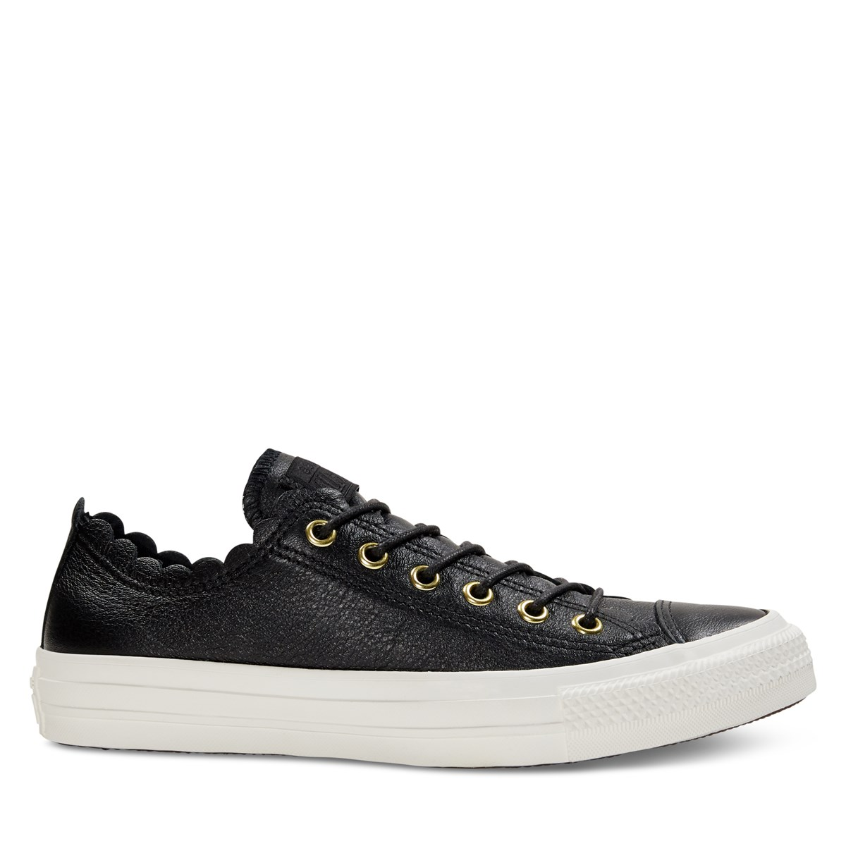 Women's Chuck Taylor All Star Low Top Leather Sneakers in Black