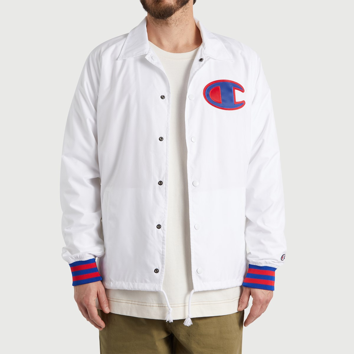 Men's Satin Coach Jacket in White