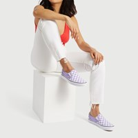 Women's Checkerboard Classic Slip-on Sneakers in Purple