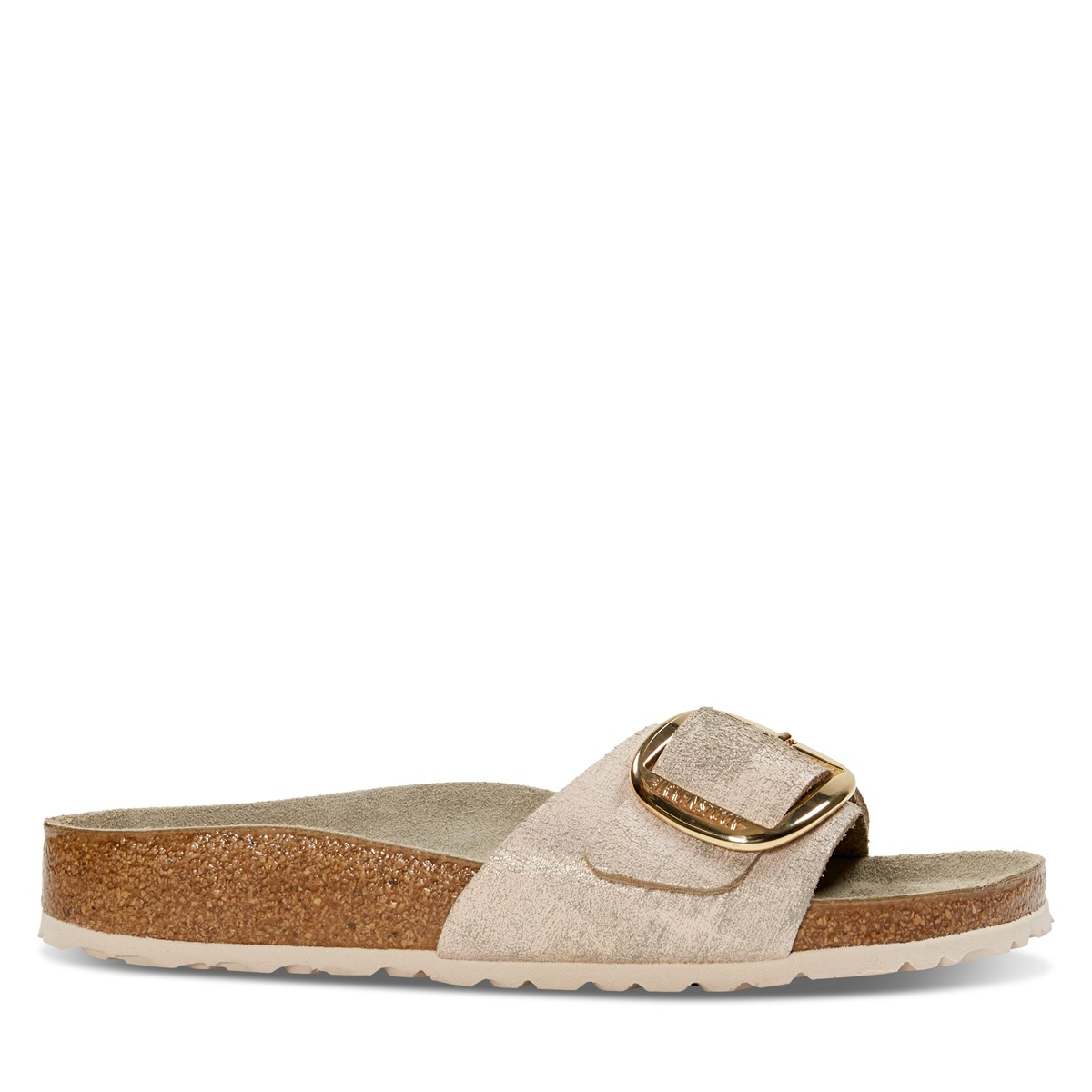 Women's Madrid Big Buckle Sandal in Metallic Rose