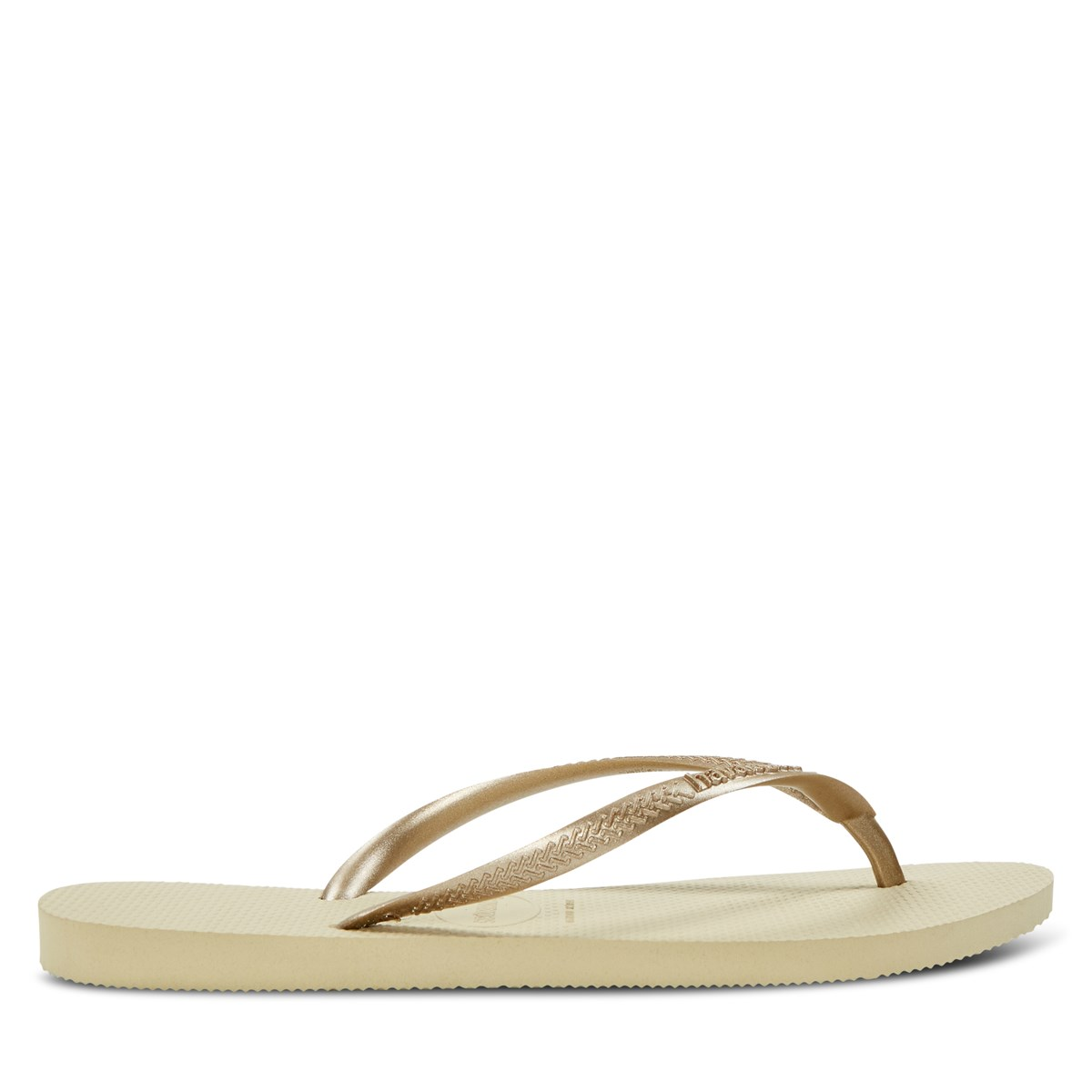 Women's Slim Flip Flops in Gold