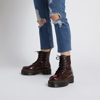 Women's Vegan Jadon II Oxford Rub Off Platform Boots in Red