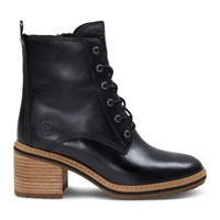 Women's Sienna Heeled Lace-Up Boots in Black