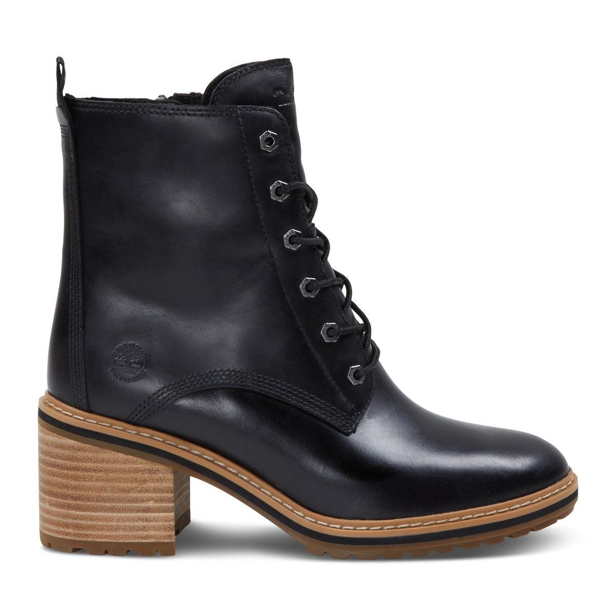 Women's Sienna Heeled Lace/Up Boots in Black
