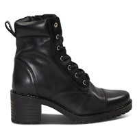 Women's Sophie Heeled Lace-Up Boots in Black
