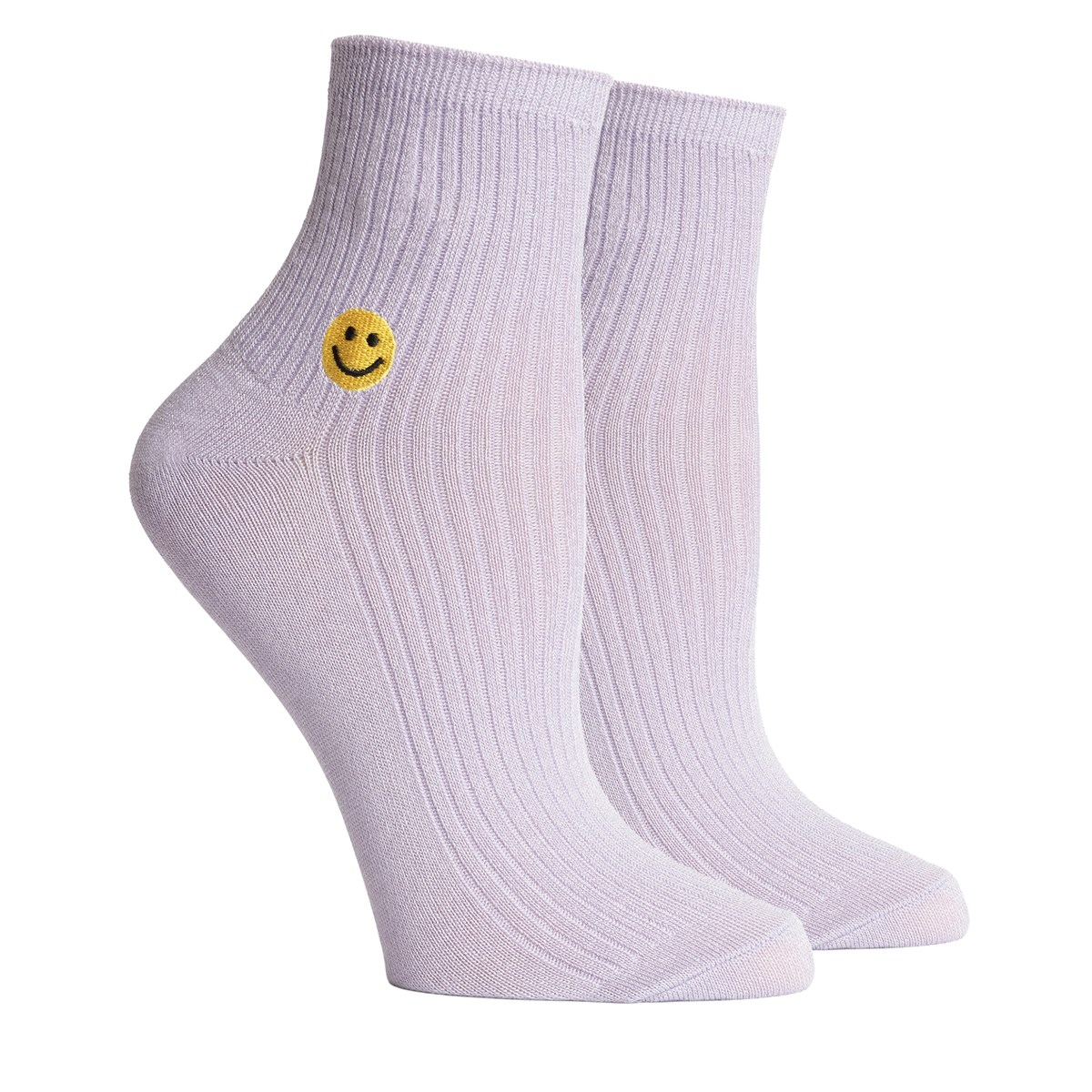 Women's Smiles Crew Socks in Lilac